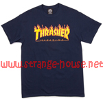 Thrasher Magazine Flame Logo T-Shirt / Navy / Large