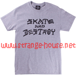 Thrasher Magazine Skate And Destroy T-Shirt / Gray / Large