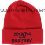Thrasher Skate And Destroy Embroidered Beanie Red