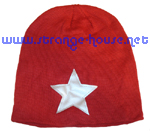Silver Star Knit Beanie / OS / Red