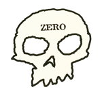 "Zero OG Skull on Clear Vinyl - White Skull - Approx. 4.5"" x 4"""